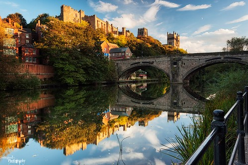 bridge light sunset sunlight castle canon reflections river landscape photography durham cathedral wear northeast