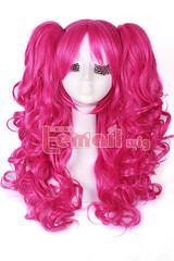 65cm Bright Pink Anime Lolita clip on ponytail wavy Wig RW139F