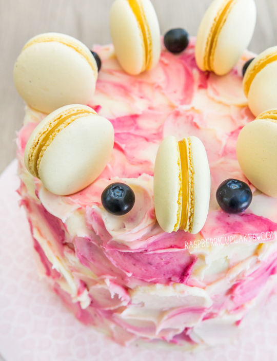 Blueberry Swirl Cake with Lemon Curd Macarons