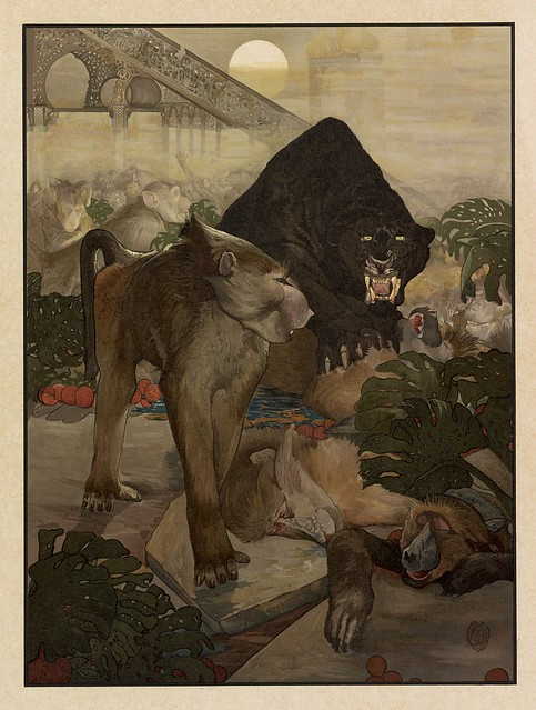 006-La lucha de los monos-Sixteen illustrations of subjects from Kipling's Jungle Book-1903 -Library of Congress