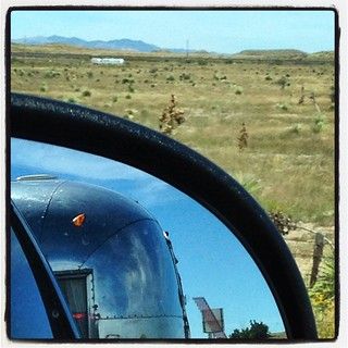 High desert double vintage #airstream sighting just outside of #Marfa .. #airstreamdc2cali #vintageairstream