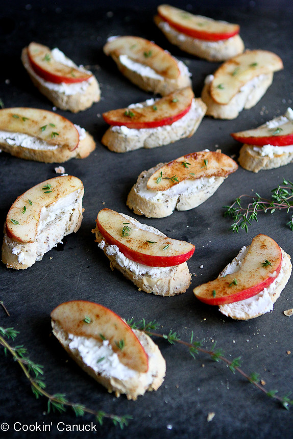 Cinnamon Apple and Goat Cheese Crostini...Sometimes the simplest recipes are the best!  Only 37 calories and 1 Weight Watchers PP per crostini. | cookincanuck.com #appetizer #snack #recipe #vegetarian