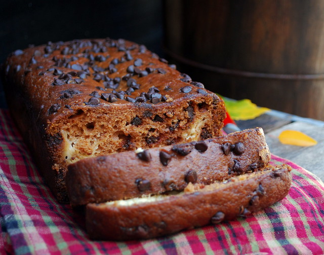 Pumpkin Cream Cheese Chocolate Chip Bread
