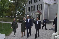 National Park Service Deputy Superintendent Caroline Keinath points out apple orchards as U.S. Secretary of State John Kerry and Chinese State Councilor Yang Jiechi tour the Adams National Historic Site in Quincy, Massachusetts, following a series of bilateral meetings in the Secretary's hometown of Boston on October 18, 2014. [State Department photo/ Public Domain]