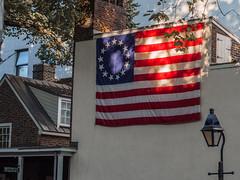 dappled light on the Betsy Ross Flag