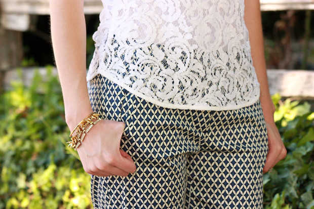 lace top, printed pants