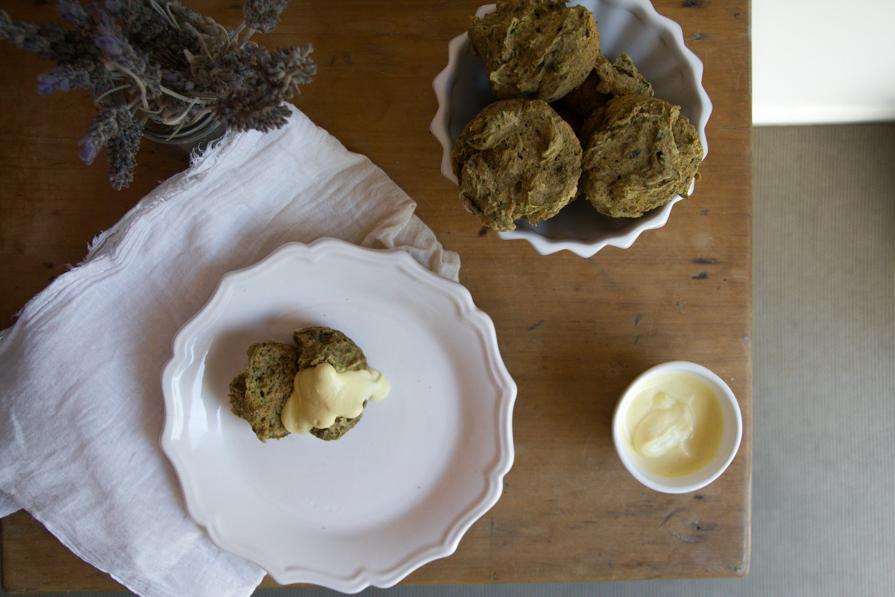 zucchini-basil savoury muffins + saffron cashew cream