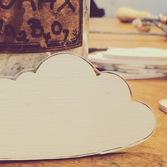 Cloud with silver lining. The silver lining is riveted to a wooden cloud, which has been painted in a soft grey eco paint. Brooch or pendant. £25.