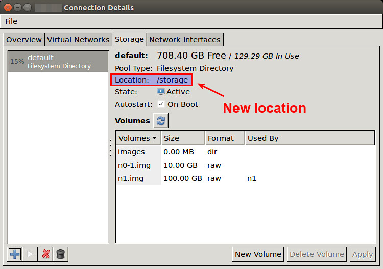 How to change default location of libvirt VM images - Ask