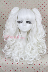 60cm long white Lolita clip on ponytails cosplay hair wig rw137g