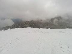 Blick zurück Gletscherfeld Aufstieg Hoher Weißzint