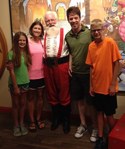 Claire, Gwen, Santa, J.D., and Justin at Holiday World