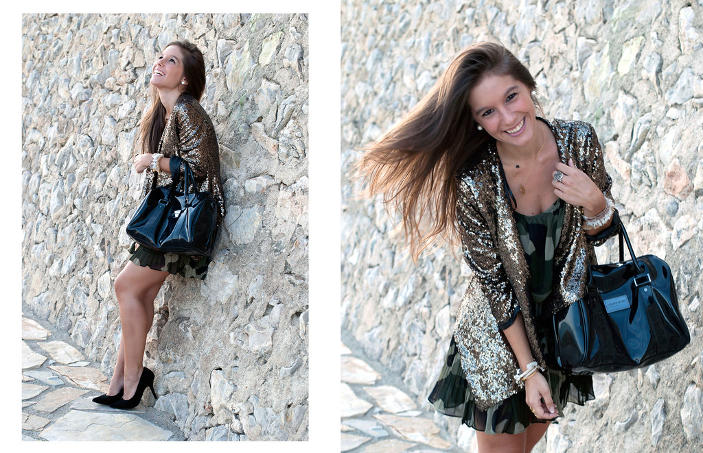 SEQUINS blazer & CAMO dress | theguestgirl 06
