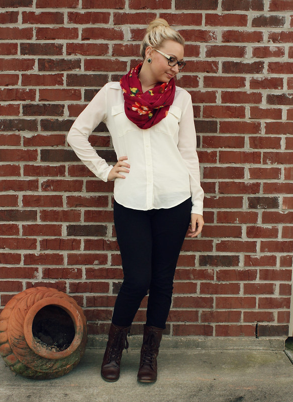 combat-boot-scarf-white-blouse