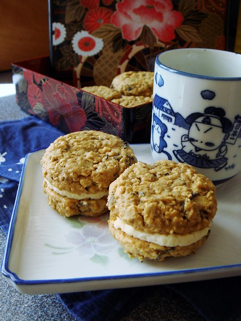 Kinako Nori Sesame Sandwich Cookies with Miso Buttercream