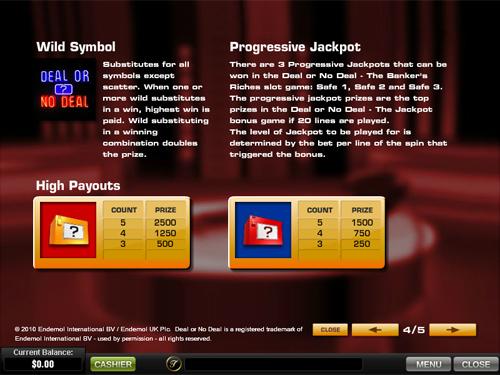 free Deal or No Deal progressive jackpot