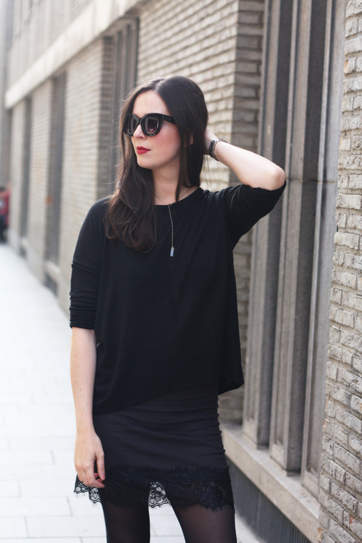 all black outfit cat eye sunglasses lace hem skirt