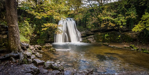 autumn motion tree water leaves rock waterfall stream long exposure yorkshire blurred scenary foss janets dales malham goredale
