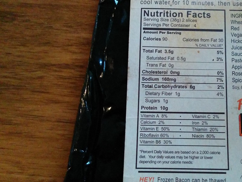 Sweet Earth Seitan Bacon Nutritional Info