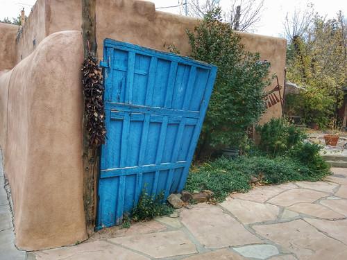 blue door in Taos