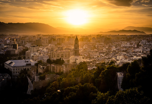 city sunset mountains spain cityscape cathedral fortress malaga