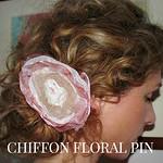 chiffon floral pin
