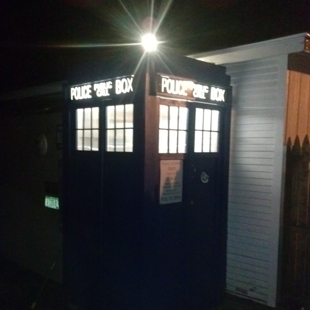 The back yard TARDIS all lit up.