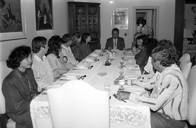 Almoço com a Comissão de Vereadores de Pires do Rio em 05/09/1989