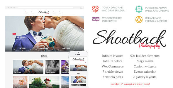 Shootback v1.1.2 - Retina Photography WordPress Theme