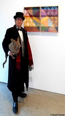 Dr. Takeshi Yamada and Seara (Coney Island sea rabbit) at the Chelsea art gallery district in Manhattan, New York on February 8, 2017.   20170208Wed. Chelsea, DSCN9802=p3035xC1