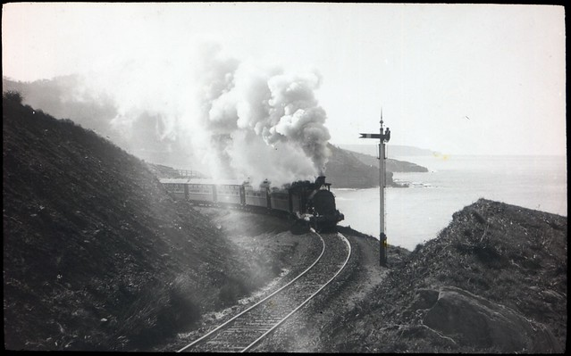Steam train on curve at Stanwell Park