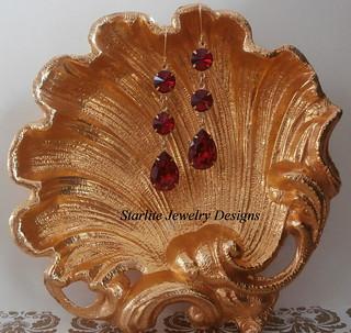 Vintage Swarovski Crystal Earrings ~ Ruby Red Siam Swarovski Crystals ~ Bridesmaids Earrings Jewelry ~ Hollywood Glam ~ Vintage Weddings Bridal Bridesmaids Brides Jewelry ~ Vintage Crystal Earrings