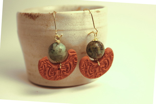 Earrings with turquise and terracotta clay - egyptian style
