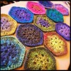 Crocheted African flowers.