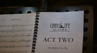 """Trumpet part from \""""Ganglife\"""" the musical, by Josiah Carr. Photo by Peter Jennings."""