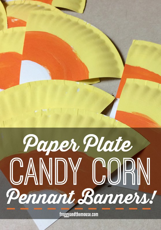 Paper Plate Candy Corn Pennant Banners from Froggyandthemouse.com!