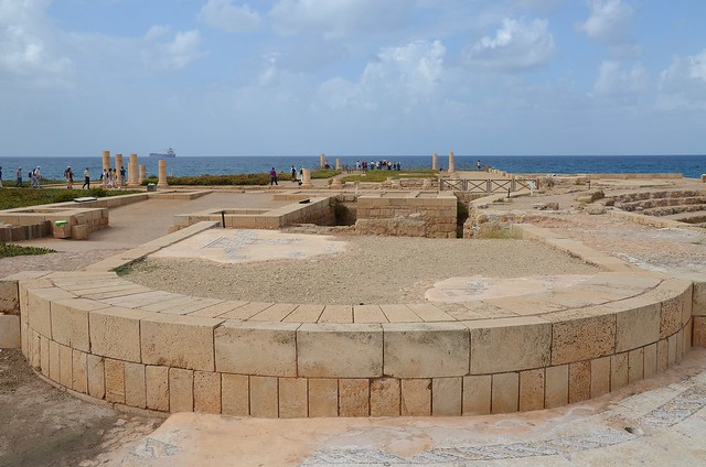 The Promontory Palace of Herod the Great stretching into the sea, Caesarea, Israel