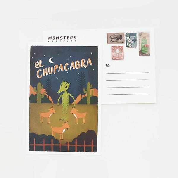 el chupcabra postcard quill and fox