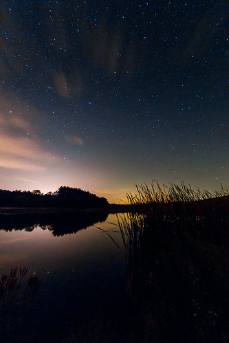 park trees light summer sky lake reflection fall nature water wisconsin night clouds rural reeds dark stars landscape photography star photo glow darkness unitedstates natural state farm september galaxy astrophotography area recreation zander milkyway 2014 browntown greencounty beckmanlake cadizsprings