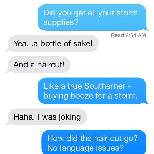 A massive storm is heading towards Japan, so the dude bought groceries and got a hair cut. Lulz