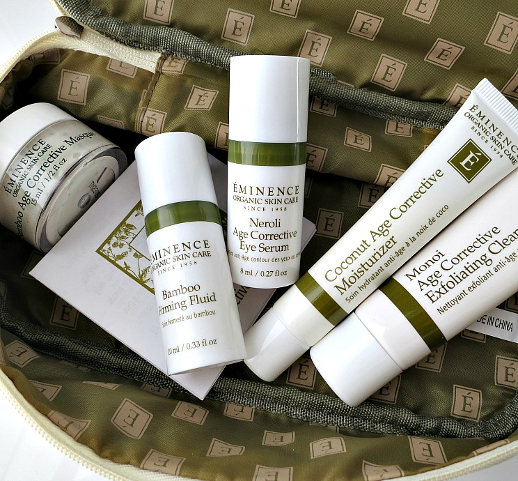 eminence-organics-review-age-corrective-starter-kit-bag-inside, skin care, anti-aging, eminence Canada, dry skin