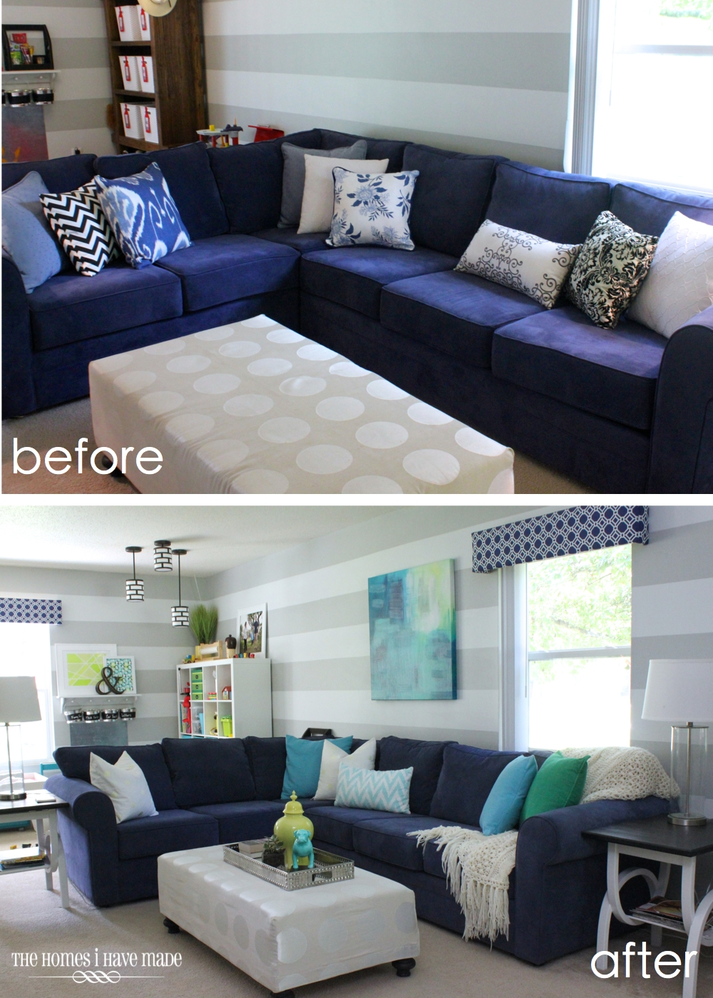 Pops of Color-Before After Family Room-ForRent.com