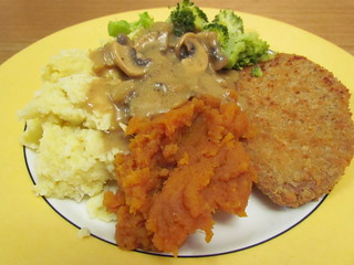 "Sweet Potato Puree; Millet Mashed ""Potatoes""; Mushroom Gravy"