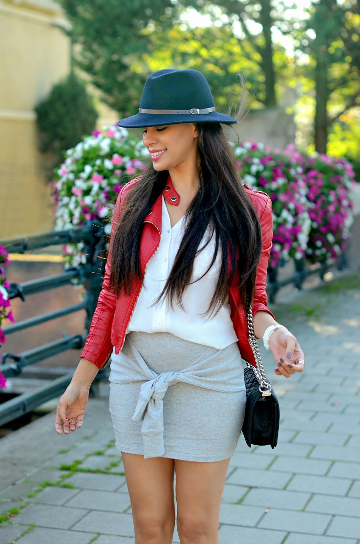 DSC_9238 Red Biker Jacket, Chanel Boy Bag, Blue fedora hat,