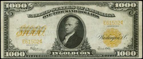 Fr. 1220. 1922 $1000 Gold Certificate