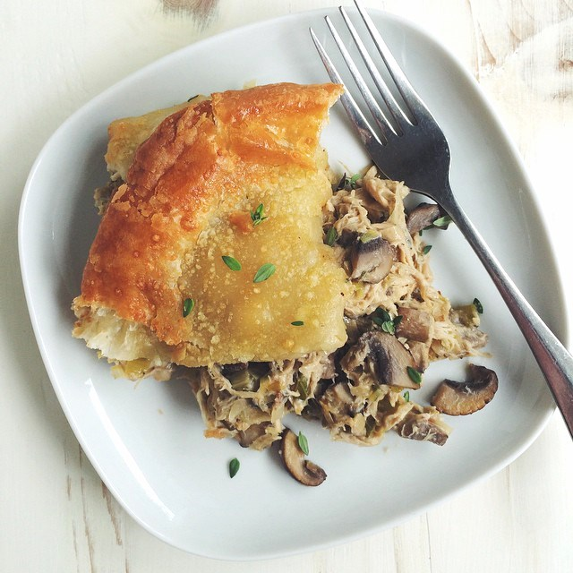 Yesterday @mtnmamacooks and I got together and baked, and she sent me home with these leftovers: easy chicken and mushroom pot pie with puff pastry crust. Un-freaking-believable! The recipe is on her blog today. Get it! #onepotwednesday