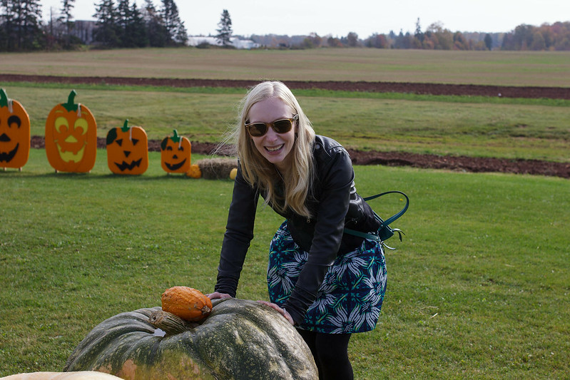 Laura and a Pumpkin
