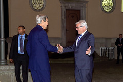 German Foreign Minister Frank-Walter Steinmeier welcomes U.S. Secretary of State John Kerry to Villa Borsig, the German Foreign Office guest house, for a working dinner on Oct. 21, 2014,  before additional meetings with Steinmeier and German Chancellor Angela Merkel. [State Department photo/ Public Domain]