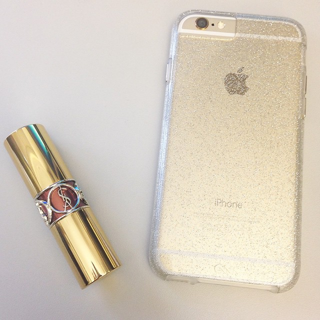 {Currently loving} #YSL Rouge Volupte Shine in #RoseInfinite and my new Sheer Glam case in champagne from @casemate. #casemate #iphone6 #loveit #picoftheday #instagood #glitterglam