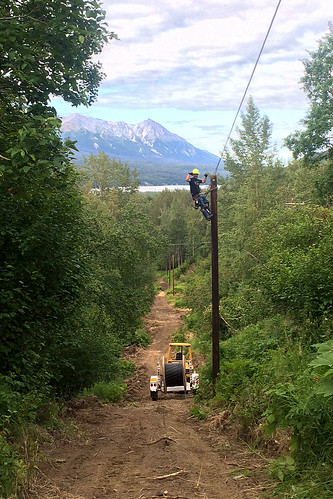 A Matanuska Telephone Association Lineman works to bring high-speed broadband to Chickaloon and Glacier View. Photo courtesy MTA.